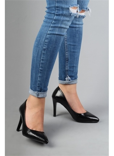 Modabuymus Modabuymus  Kırışık Rugan Stiletto Topuklu Kadın Ayakabı - Anger Siyah